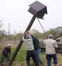 Erecting a pole box